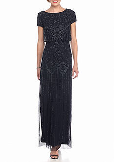 Adrianna Papell Bead and Mesh Blouson Gown