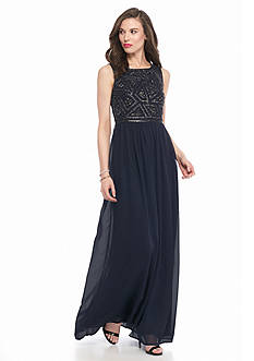 Adrianna Papell Bead and Mesh Gown