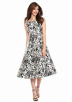Adrianna Papell Printed Fit and Flare Party Dress