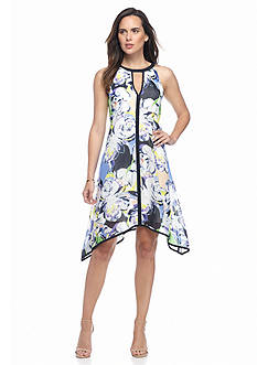 Adrianna Papell Floral Printed Hankie Hem Halter Dress