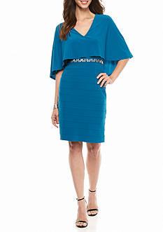 Adrianna Papell Embellished Waist Capelet Jersey Sheath Dress