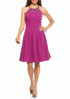 Adrianna Papell Halter Fit and Flare Dress with Necklace