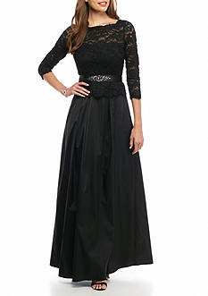 Adrianna Papell Lace Bodice Stretch Tulle Gown