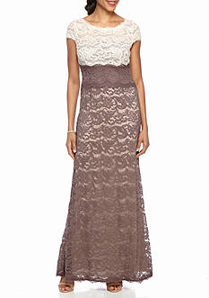 Adrianna Papell Lace Colorblock Gown