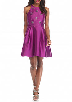 Adrianna Papell Beaded Bodice Fit and Flare Dress