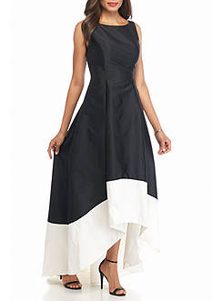 Adrianna Papell Hi-Lo Hem Colorblock Gown