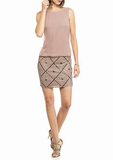 Adrianna Papell Beaded Skirt Blouson Dress