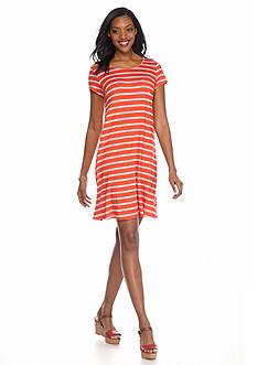 AGB Striped Trapeze Dress