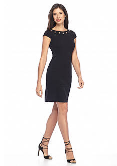 AGB Textured Knit Sheath Dress with Grommets