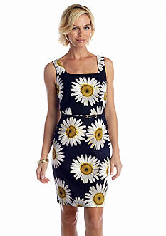 AGB Sleeveless Floral Printed Sheath Dress