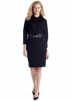 AGB Cowl-neck Belted Sweaterdress