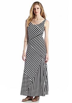 AGB Sleeveless Striped Maxi Dress
