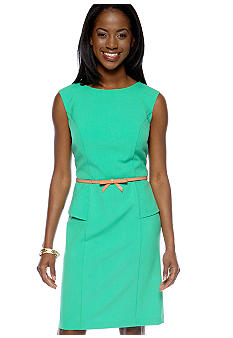 AGB Sleeveless Belted Sheath Dress