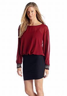 AGB Long Sleeve Blouson Dress
