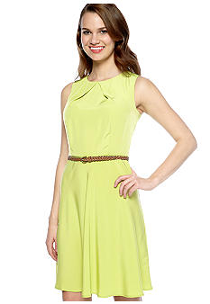 AGB Sleeveless Belted Swing Dress