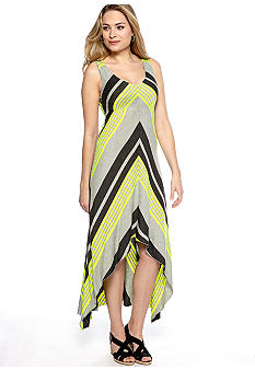 AGB Sleeveless Stripe Hi-Lo Maxi Dress