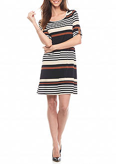 AGB Roll-Sleeve Stripe Trapeze Dress