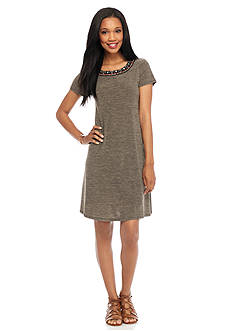 AGB Embellished Neck Shift Dress