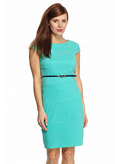 AGB Seamed Belted Sheath Dress