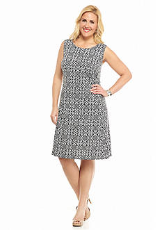 AGB Plus Size Printed A-line Dress