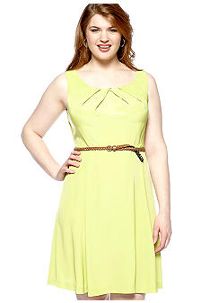 AGB Plus Size Sleeveless Belted Swing Dress