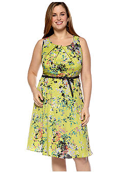 AGB Plus Size Sleeveless Fit and Flare Belted Dress