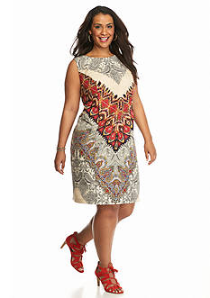 AGB Plus Size Paisley Printed Sheath Dress