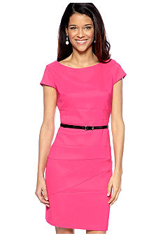 AGB Petite Cap-Sleeved Belted Sheath Dress