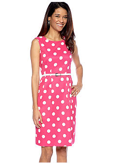 AGB Petite Sleeveless Polka Dot Belted Dress