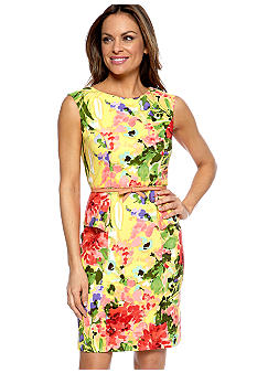 AGB Petite Cap-Sleeved Floral Peplum Belted Sheath Dress