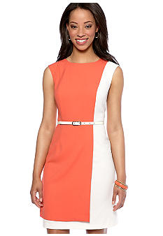 AGB Petite Cap-Sleeved Colorblock Sheath Belted Dress