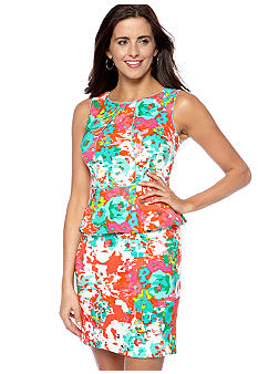 AGB Petite Printed Peplum Sheath Dress