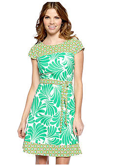 AGB Petite Cap-Sleeved Printed Dress