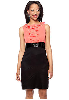 AGB Petite Sleeveless Ruffle Front Belted Dress