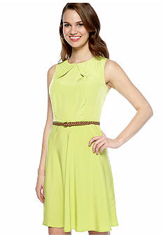 AGB Petite Sleeveless Belted Swing Dress