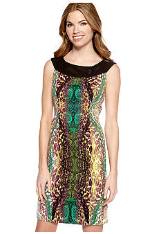 AGB Petite Sleeveless Printed Sheath Dress