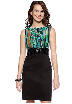 AGB Petite Ruffle Front Belted Sheath Dress