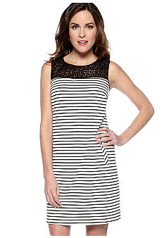 Nine West Sleeveless Stripe Shift Dress with Lace Bodice