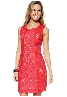 Nine West Dress Sleeveless Eyelet Shift Dress