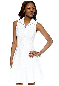 Nine West Dress Sleeveless Shirt Dress with Crochet Trim