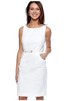 Nine West Dress Sleeveless Eyelet Belted Sheath Dress