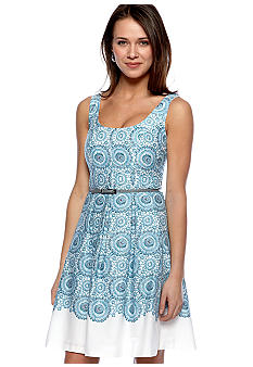 Nine West Dress Sleeveless Printed Cotton Dress