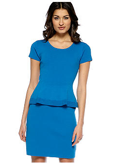 Nine West Dress Cap-Sleeved Peplum Knit Dress