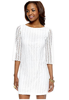Nine West Dress Three-Quarter Sleeved Allover Lace Shift Dress