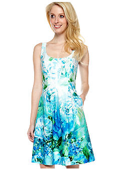 Nine West Dress Sleeveless Printed Pleated Dress
