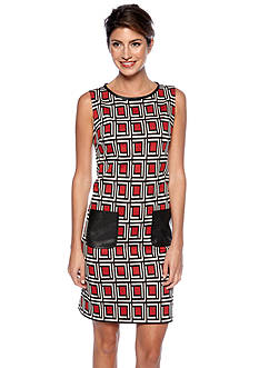 Nine West Dress Sleeveless Printed Shift Dress with Leather Trim