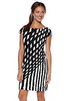 Nine West Dress Cap Sleeve Printed Sheath Dress