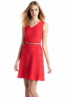 Nine West Sleeveless Belted Fit and Flare Dress
