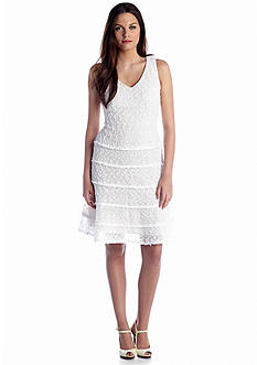 Nine West Dress Sleeveless Crochet Tiered Fit and Flare Dress