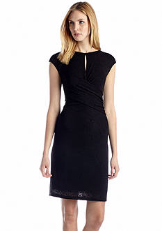 Nine West Dress Cap Sleeve Draped Sheath Dress